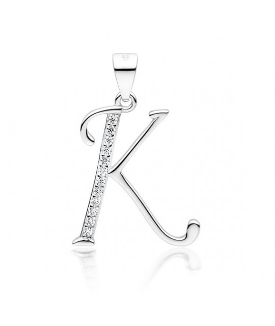 Silver pendant with white zirconia, letter K
