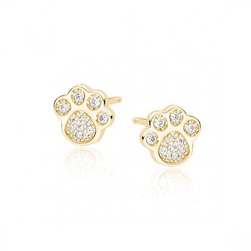 Silver earrings, Gold-plated dog/cat paw