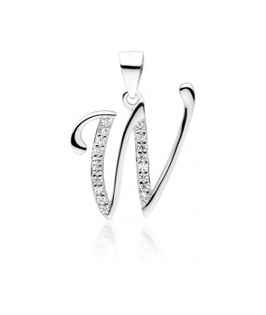 Silver pendant with white zirconia, letter W