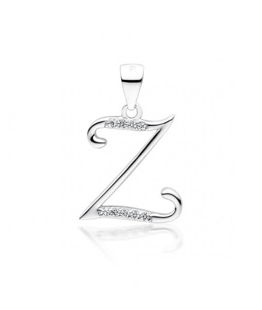 Silver pendant with white zirconia, letter Z