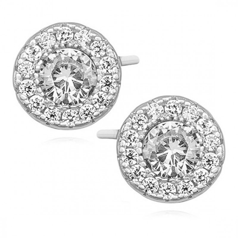 Silver elegant round earrings with zirconia