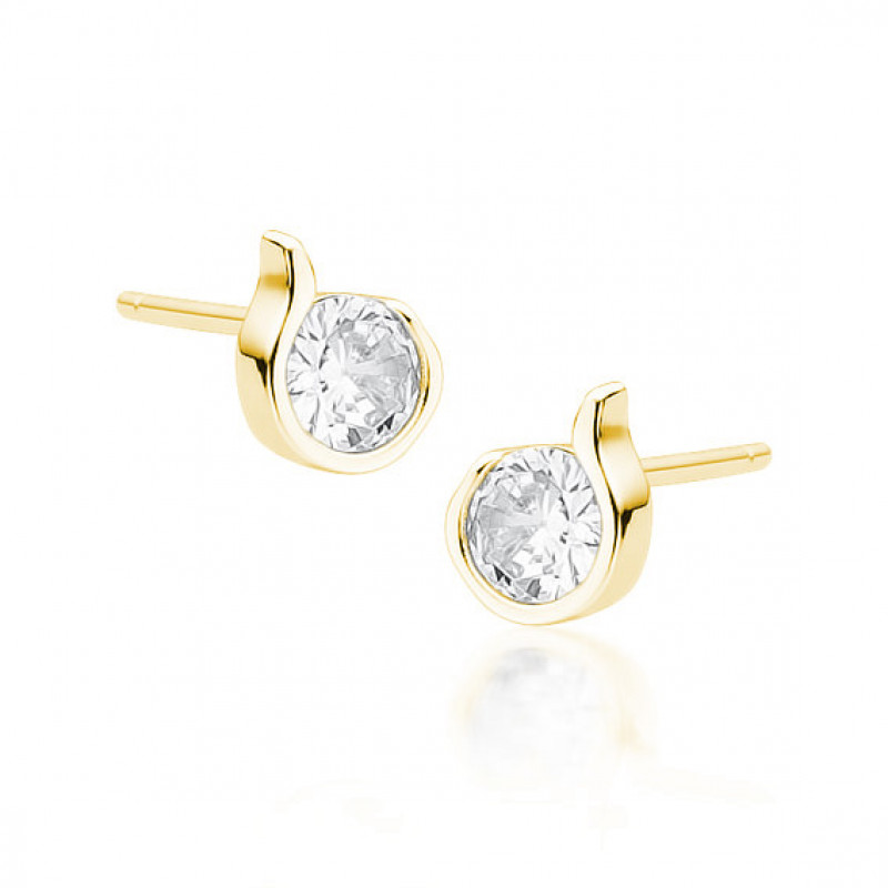 Gold-plated silver earrings with white zirconia