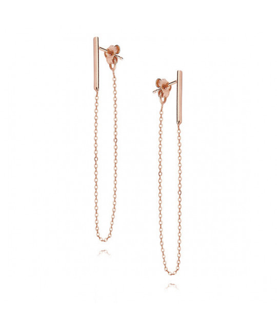 "Silver earrings, Rose gold-plated ""Сhain"""
