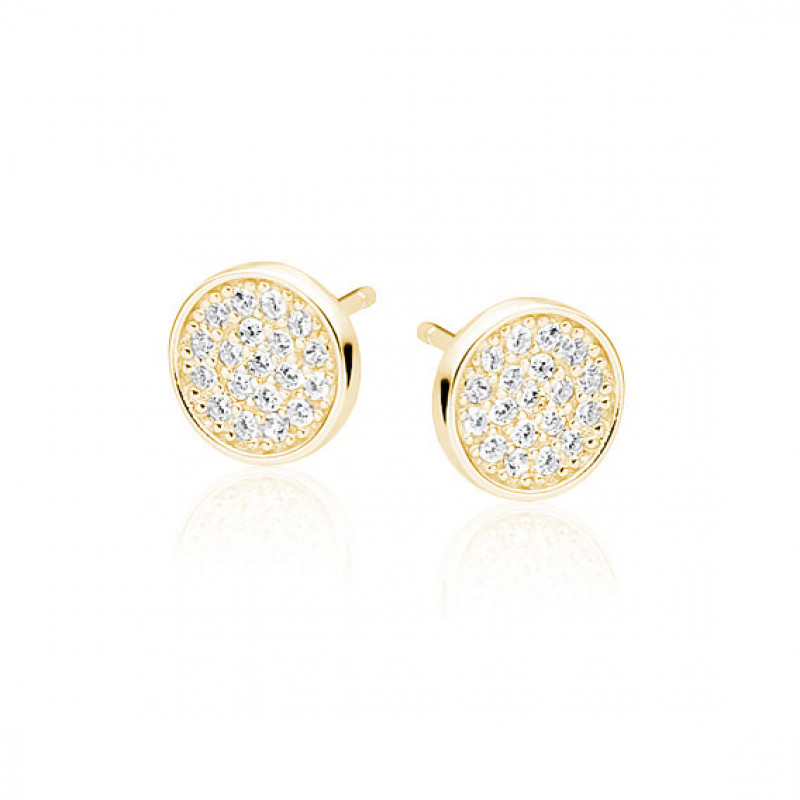 Silver elegant round earrings with zirconia, Gold-plated