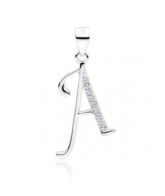 Silver pendant with white zirconia, letter A
