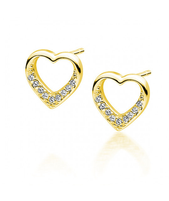 Silver gold-plated earrings with zirconia, Heart