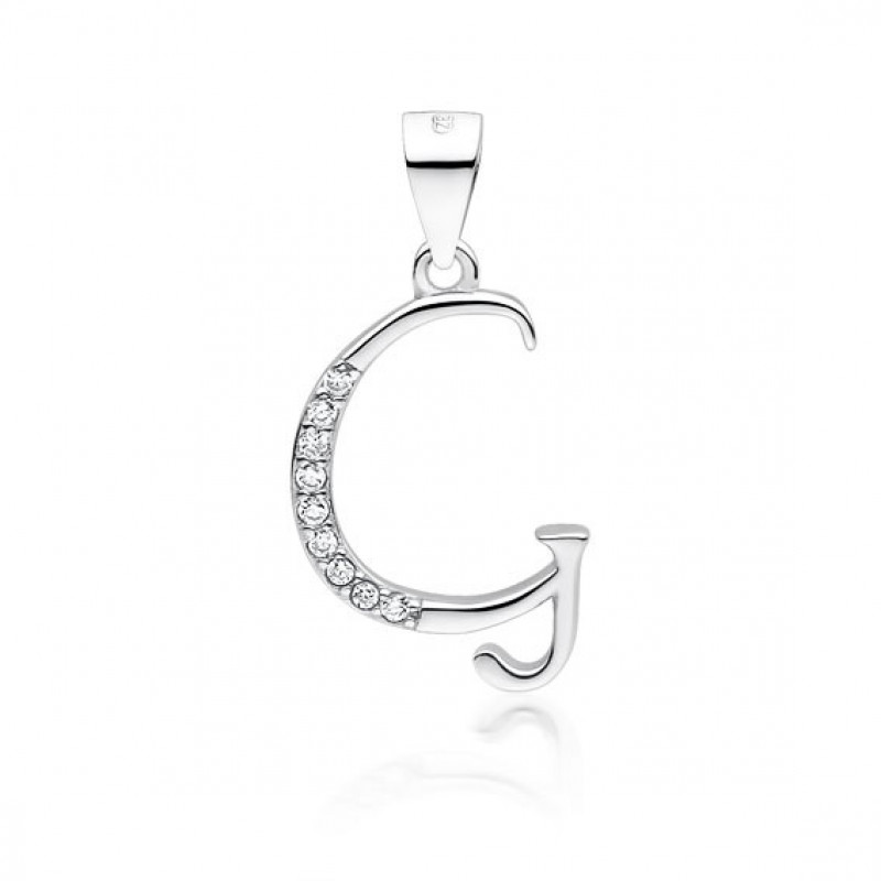 Silver pendant with white zirconia, letter G