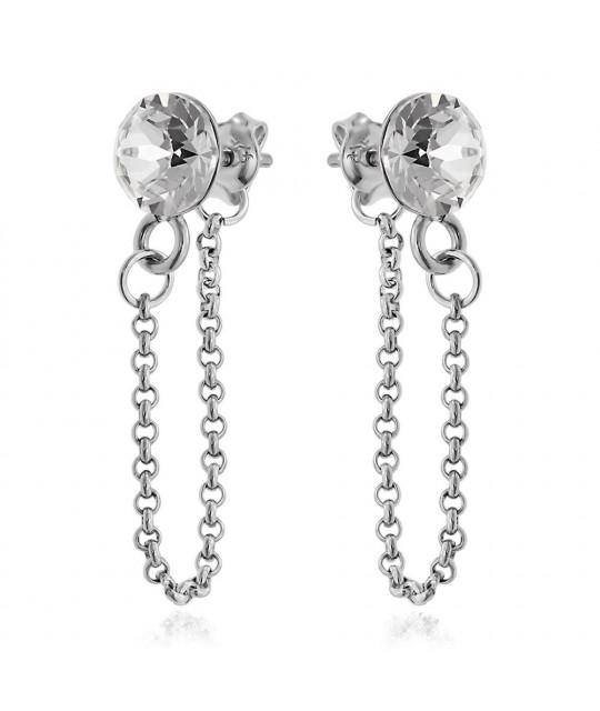 Earrings Xirius Chain, Crystal Clear