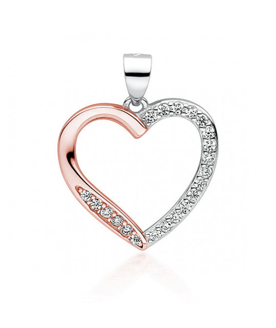 Silver rose gold-plated pendant, Hollow heart with zircon