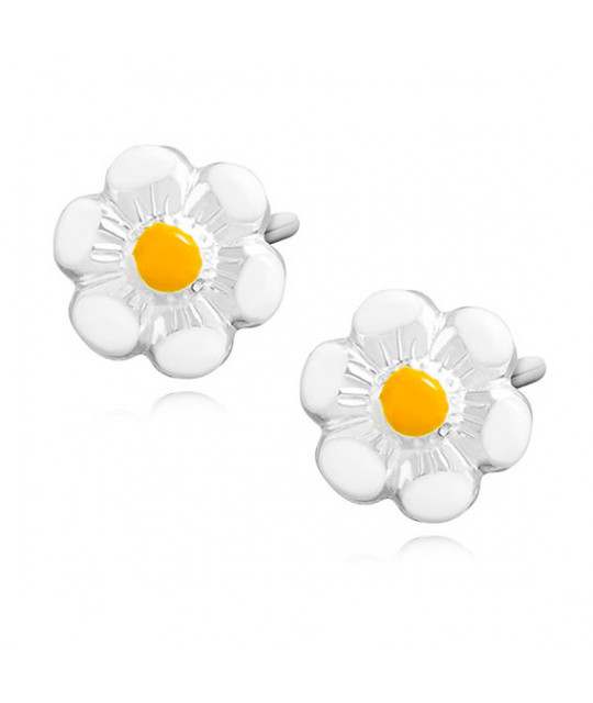 Silver earrings, Enamelled flowers