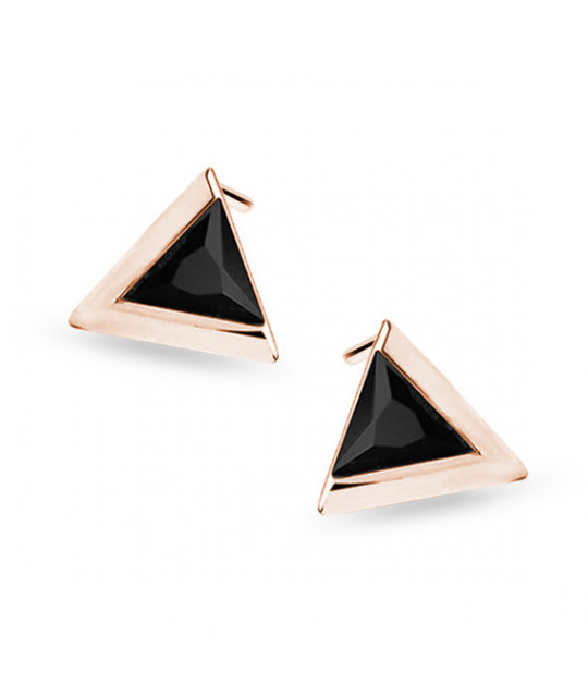 Rose gold-plated silver earrings with black zircon, Triangle