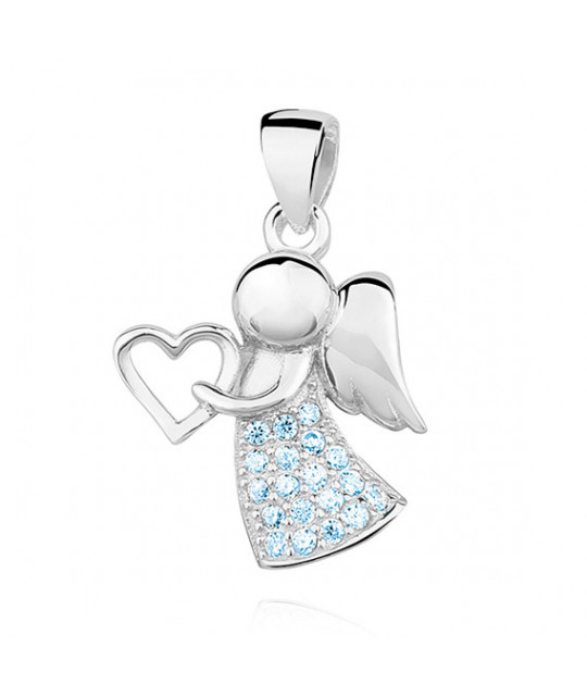 Silver pendant with zircon, Aquamarine angel