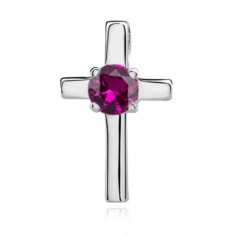 Silver pendant, Cross with ruby zircon