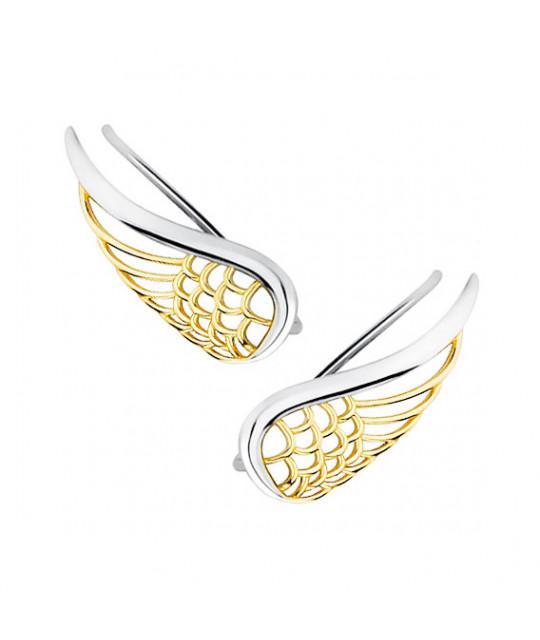 Серебряные серьги-манжеты, Позолоченные крылья