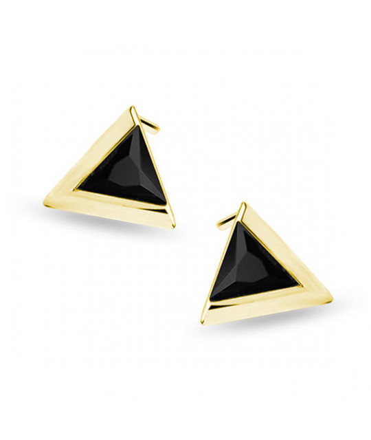 Yellow gold-plated silver earrings with black zircon