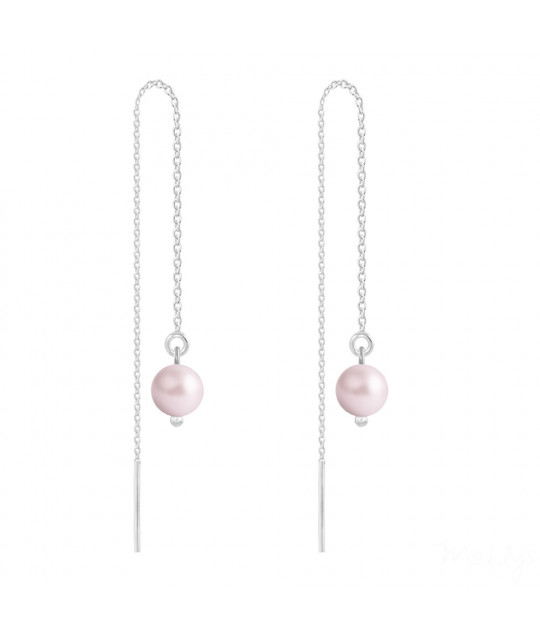 Silver Earrings Chain Pearl, Pastel Rose
