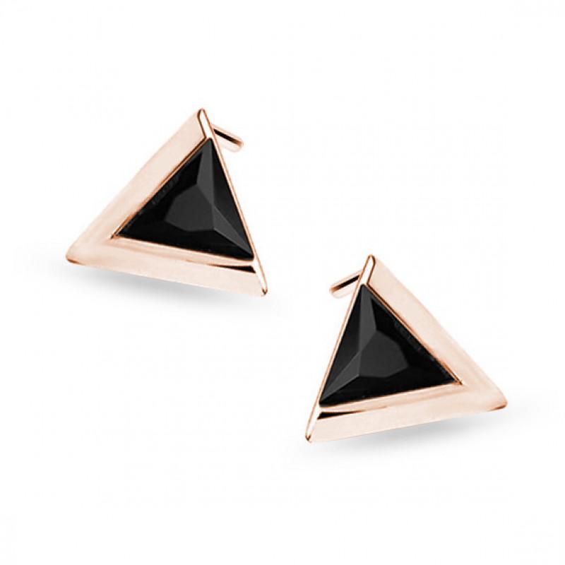 Auksiniai rožiniai auksiniai auskarai su juodu cirkonu, Trikampis