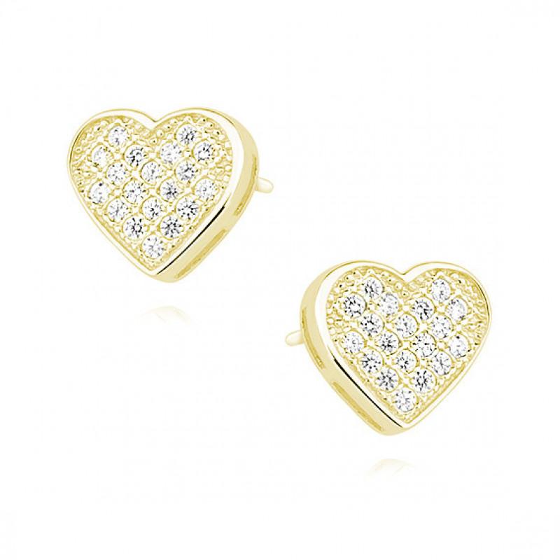 Dzelteni zeltīti sudraba auskari ar cirkonu, Hearts