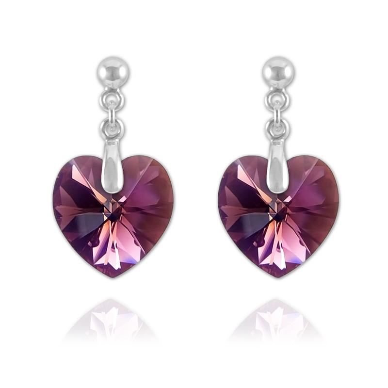 Heart Silver Earrings with Swarovski Crystal, Amethyst AB