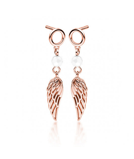 Rose gold-plated silver earrings with white zircon, Wings