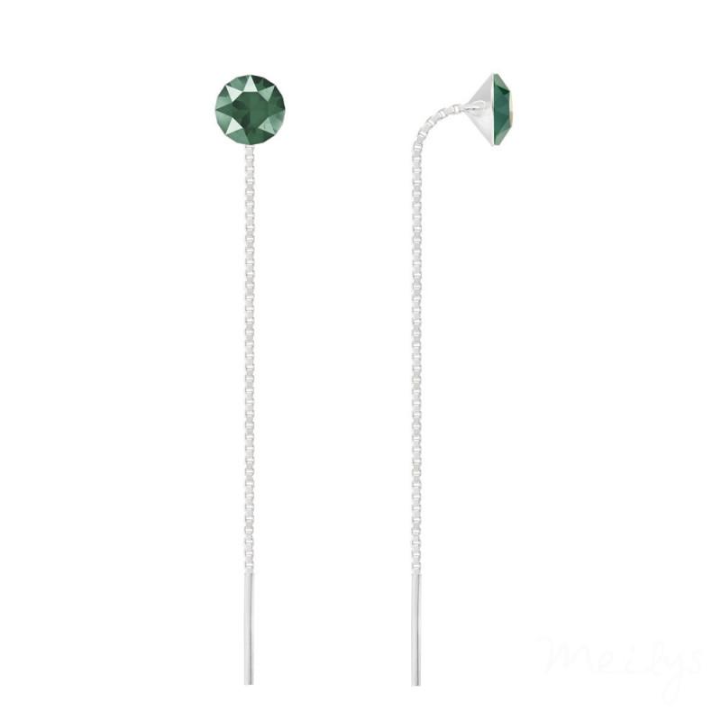 Silver Earrings Xirius Chain, Royal Green