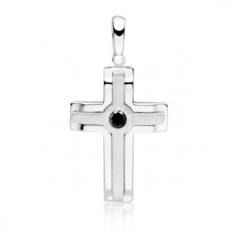 Silver elegant pendant, Cross with zircon