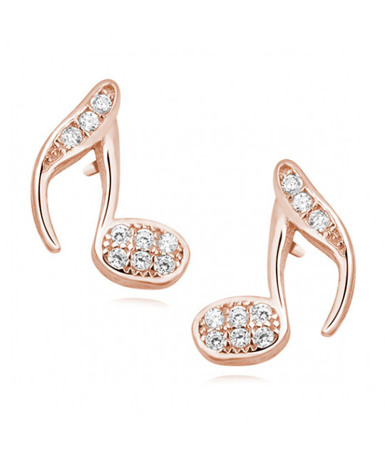 Rose gold-plated silver earrings with zirconia, Note
