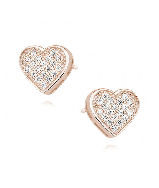 Rose gold-plated silver earrings with zircon, Hearts