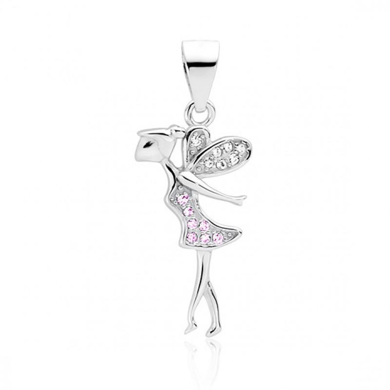 Hopeariipus vaaleanpunaisella ja valkoisella zirkonilla, Fairy