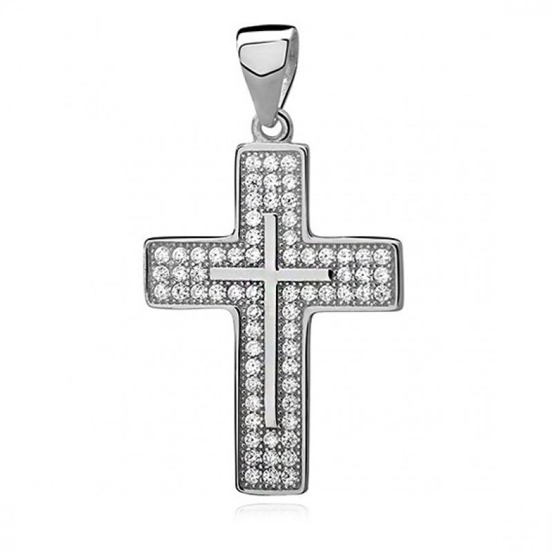 Silver pendant with zircon, Cross