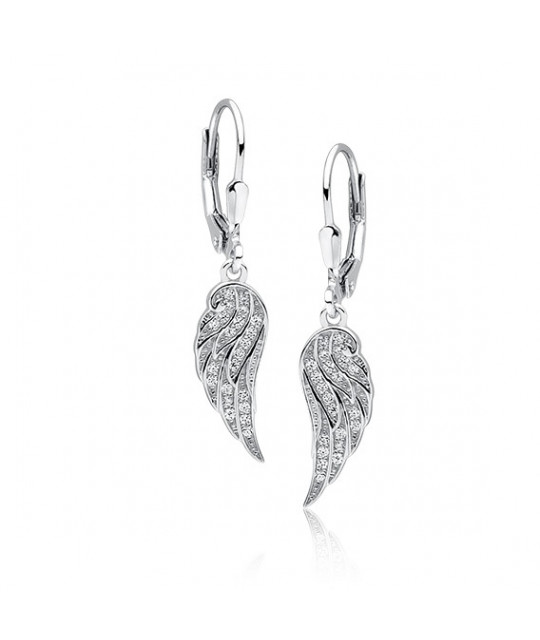 Silver earrings, Wings with white zircon