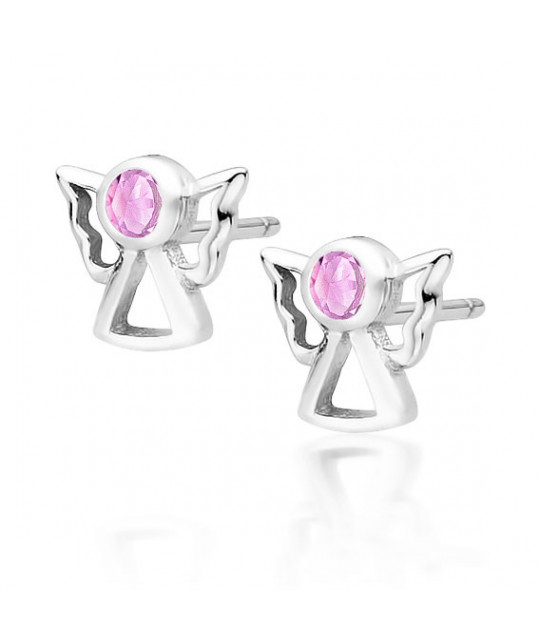 Silver earrings with pink zircon, Angels