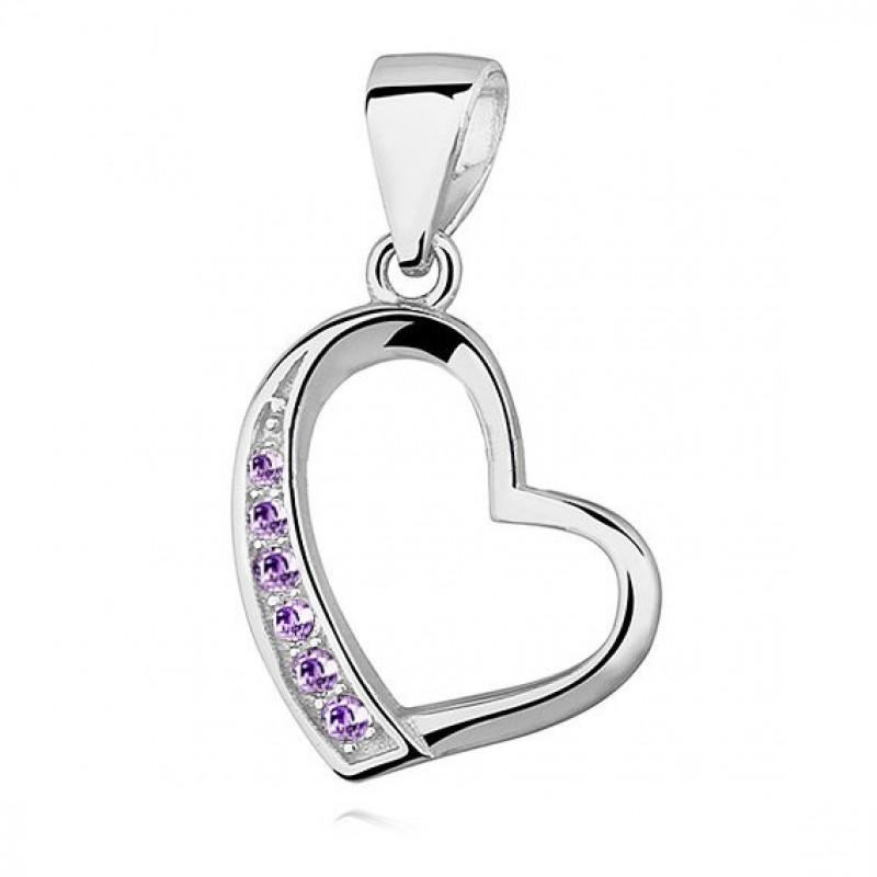 Silver pendant, Hollow heart with purple zircon