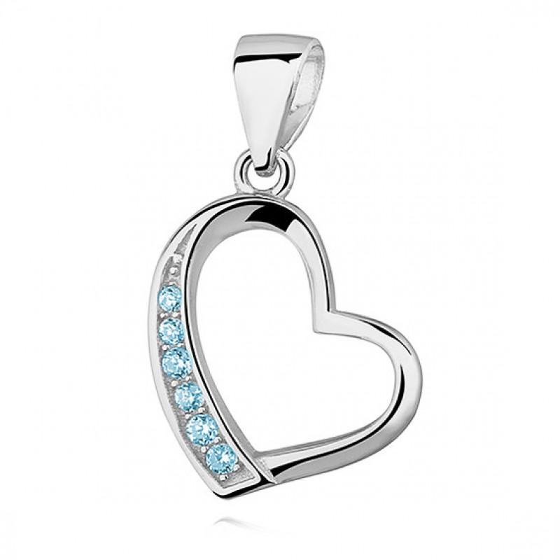 Silver pendant, Hollow heart with aquamarine zircon