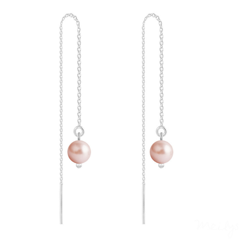 Silver Earrings Pearl Chain, Rose Peach