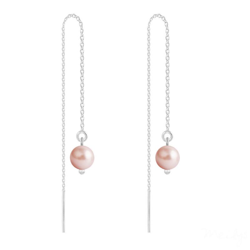 Sudraba auskari Pearl Chain, Rose Peach