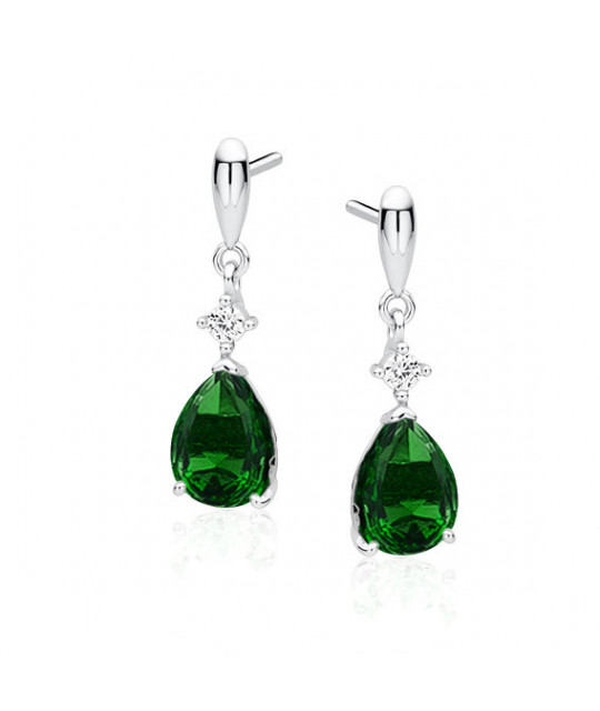 Silver earrings with emerald zirconia, Teardrop