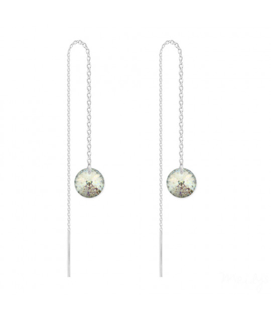 Silver Earrings Rivoli Chain, White Patina
