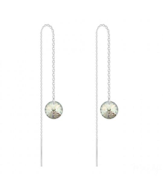 Серебряные серьги Rivoli Chain, White Patina