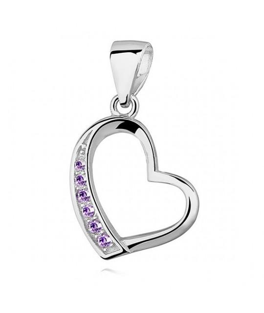 Серебряный кулон, Полое сердце с пурпурным цирконом