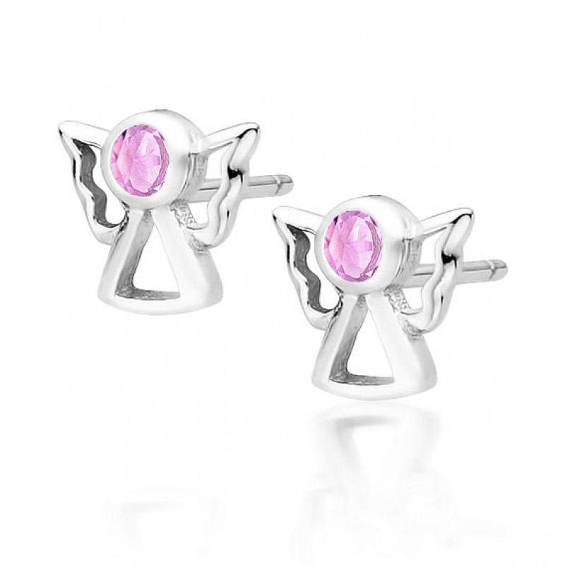 Sudraba auskari ar rozā cirkonu, Angels