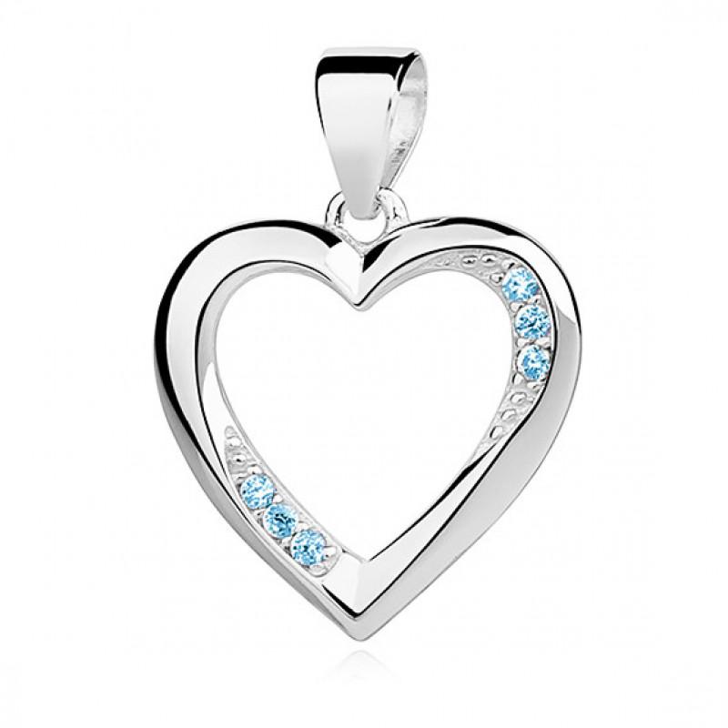 Silver pendant with aquamarine zircon, Heart