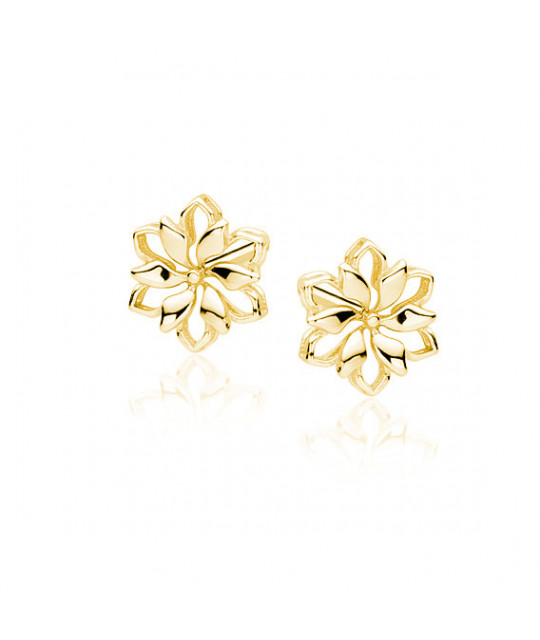 Yellow gold-plated silver earrings, Flowers