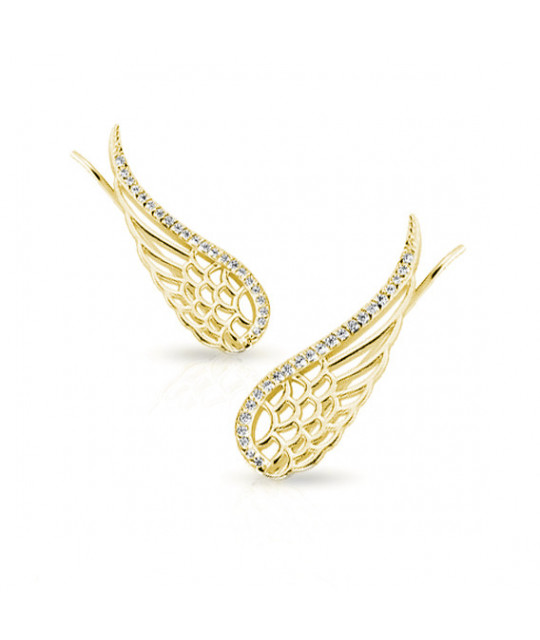 Silver cuff earrings, Gold-plated wings with zircon