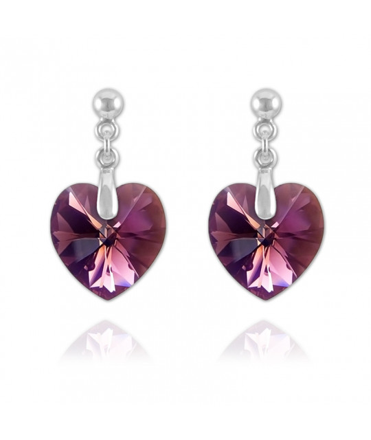 Heart Silver Earrings with Swarovski Crystal, Amethyst AB