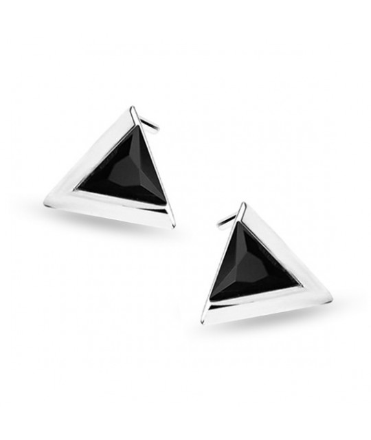 Silver triangle earrings with black zirconia