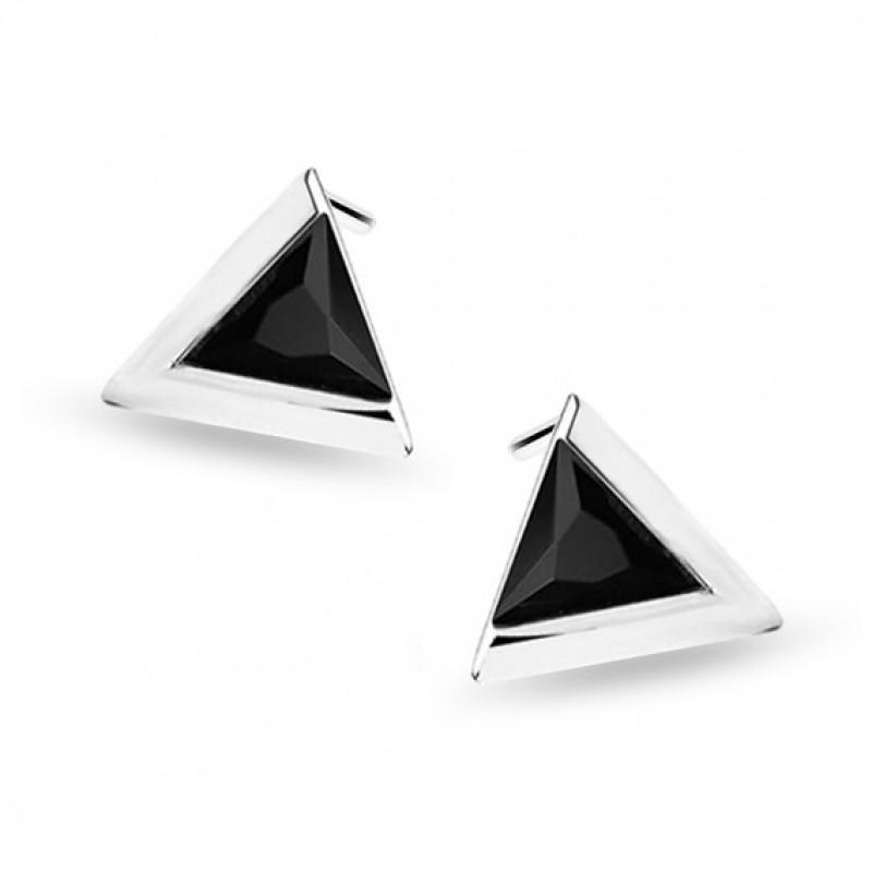 Sudraba auskari trīsstūrveida ar melnu cirkonu