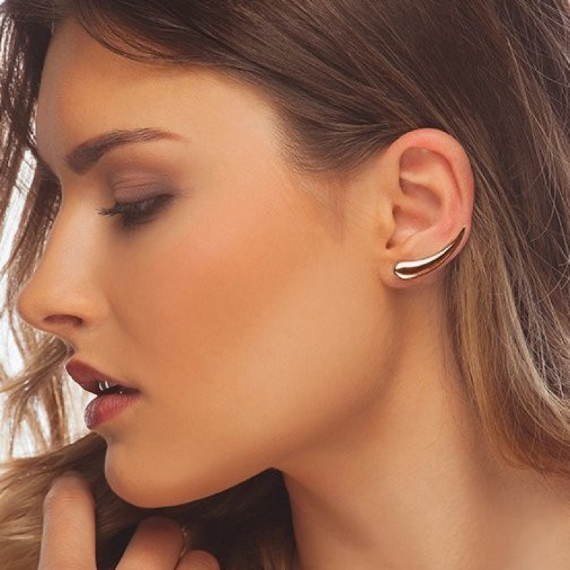 Rose gold-plated silver cuff earrings