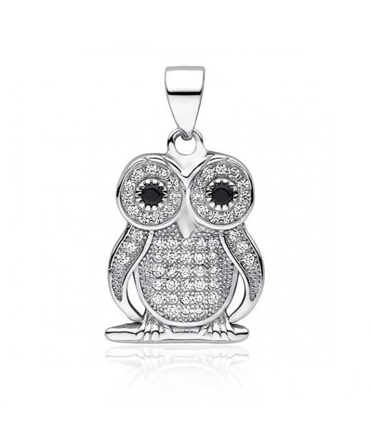 Silver pendant with zircon, Owl