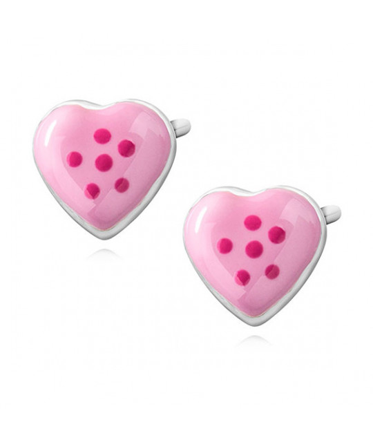 Silver earrings, Enamelled hearts